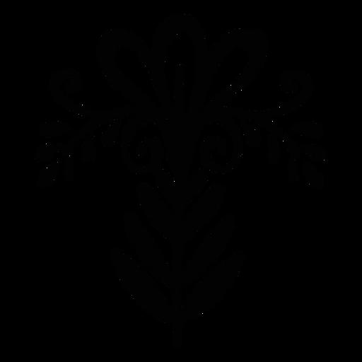 Silueta folclórica floral ornamentada
