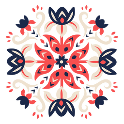Ornamented flower folk pattern element
