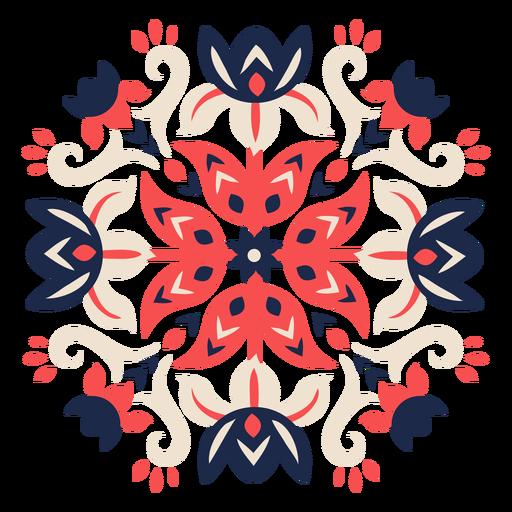 Elemento de patrón popular de flores ornamentadas