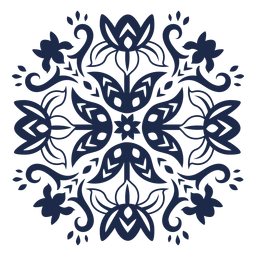 Ornamented flower folk pattern silhouette