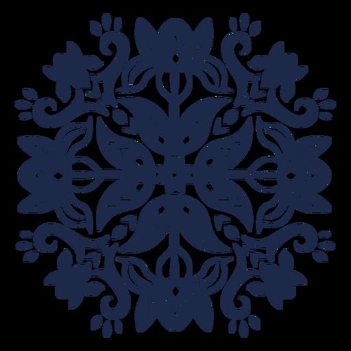 Flor ornamentada patrón folk silueta