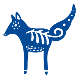 Ornamented fox folk art element