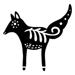 Ornamented fox folk art silhouette