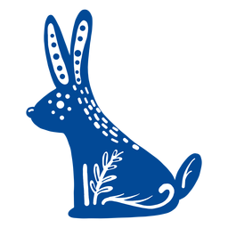 Ornamented rabbit folk art element