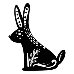 Ornamented rabbit folk art silhouette