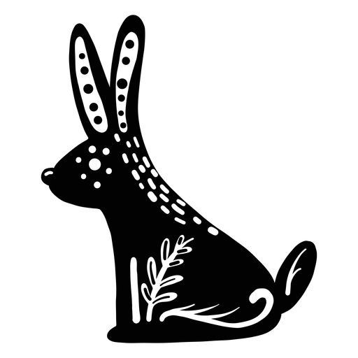 Ornamented rabbit folk art silhouette