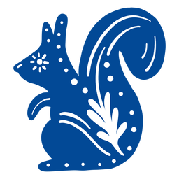 Ornamented squirrel folk art element