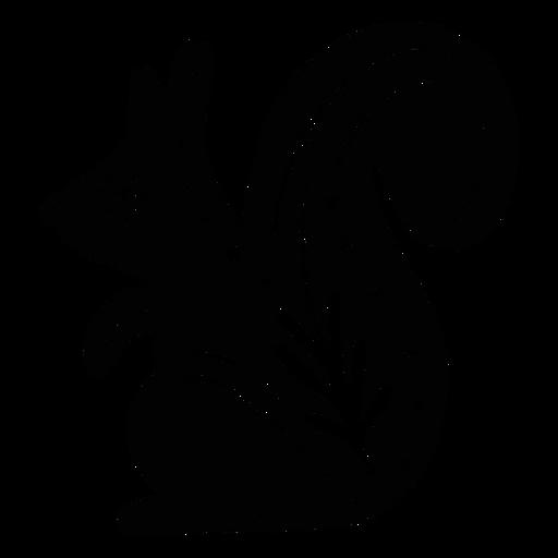 Ornamented squirrel folk art silhouette Transparent PNG