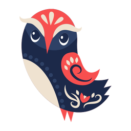 Adorno de arte popular de pájaro búho