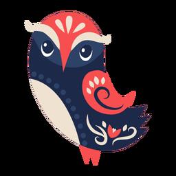Ornamento de arte popular de pássaro coruja