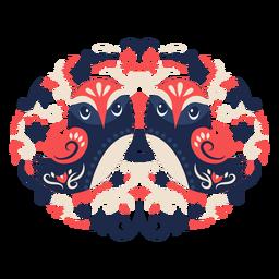 Owl folk art floral ornament