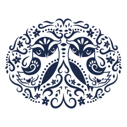 Owl folk art floral silhouette