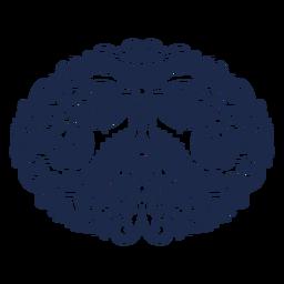 Silueta floral de buho folk art