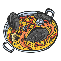 Mão de prato de paella desenhada