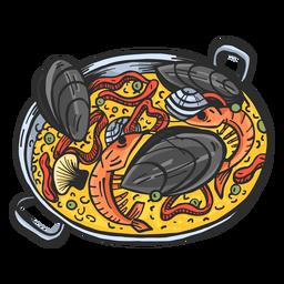 Prato de paella desenhado à mão