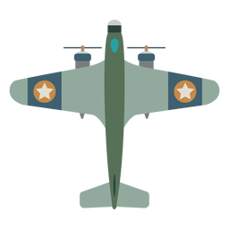 Propeller aircraft top view icon