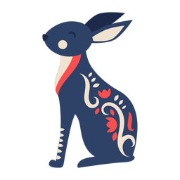 Ornamento de arte folclórica de coelho