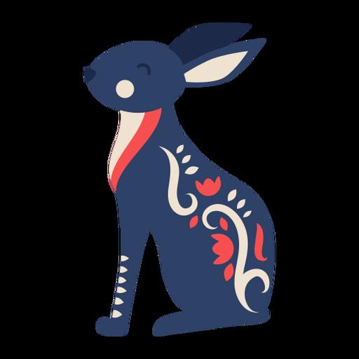 Rabbit folk art ornament Transparent PNG