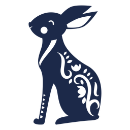 Rabbit folk art ornament silhouette