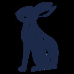 Silueta de ornamento de arte popular de conejo