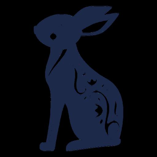 Rabbit folk art ornament silhouette