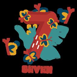 Número de siete mariposas