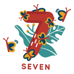 Número siete mariposas