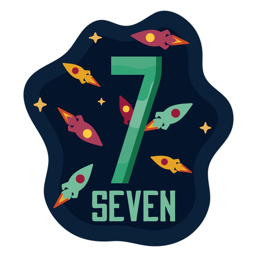 Número de siete cohetes espaciales