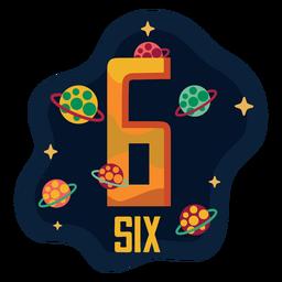 Número de seis planetas