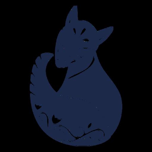 Snow fox folk art silhouette Transparent PNG