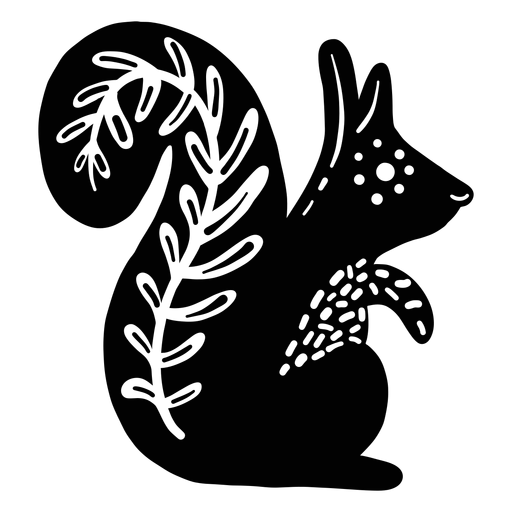 Squirrel folk art element silhouette