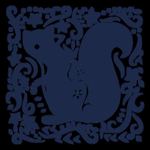 Squirrel folk art floral silhouette
