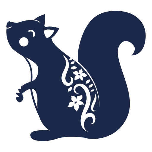 Squirrel folk art ornament silhouette Transparent PNG