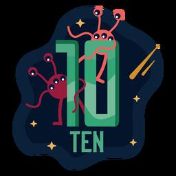 Número de diez ojos alienígenas