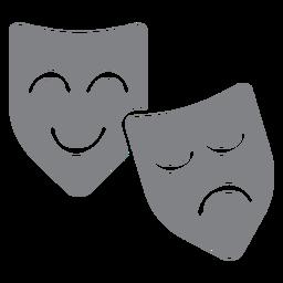 Ícone plana de máscaras de teatro