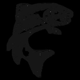 Trucha pescado dibujado a mano