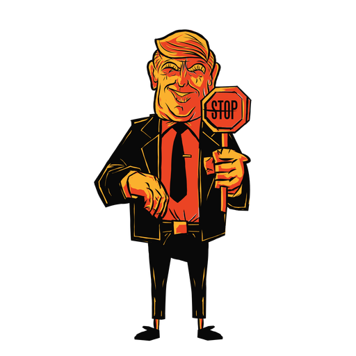 Trump hält Stoppschildkarikatur
