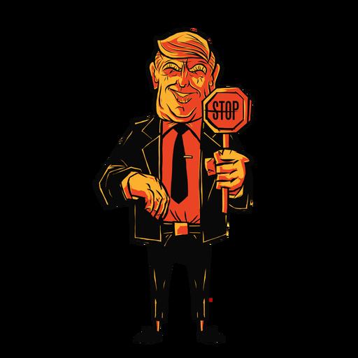 Trump holding stop sign cartoon