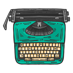 Typewriter top view colored clipart