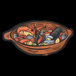 Paella valenciana desenhada à mão