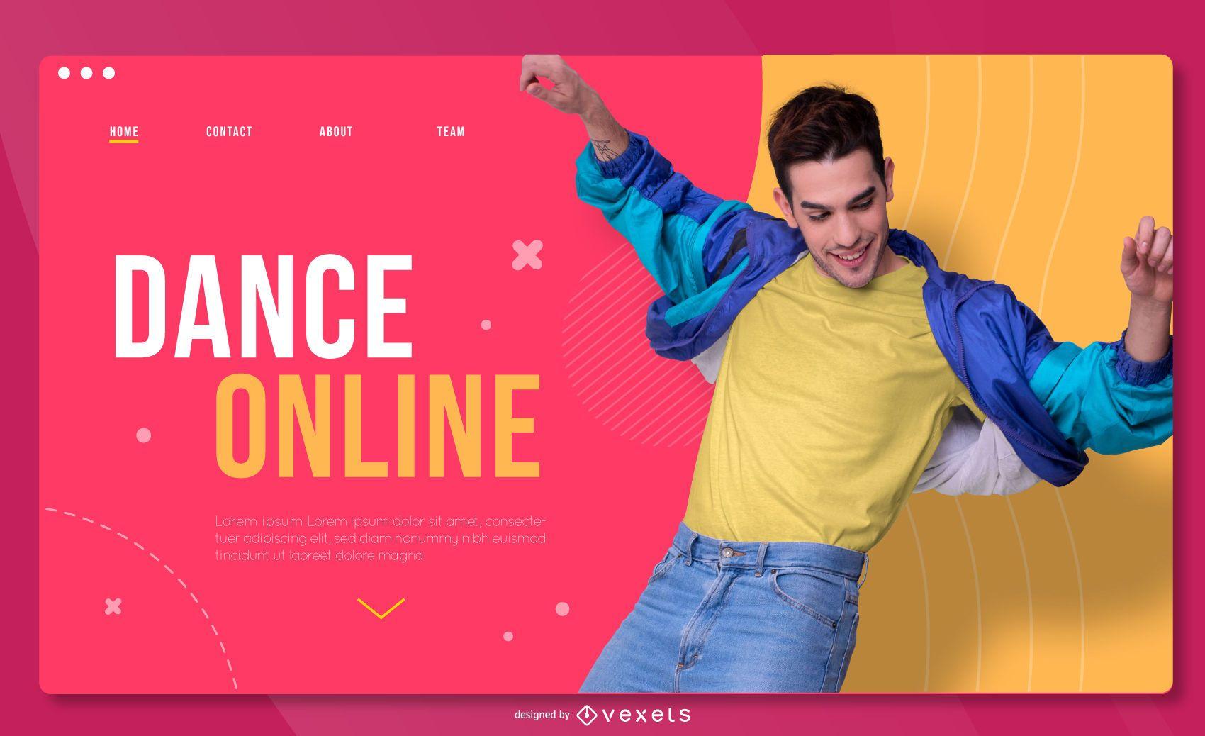 Dancing online landing page template