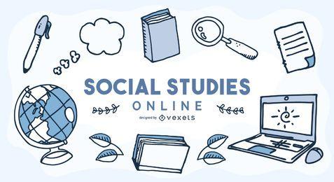 Capa de educação on-line de estudos sociais