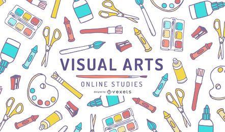Estudos on-line de artes visuais Design da capa