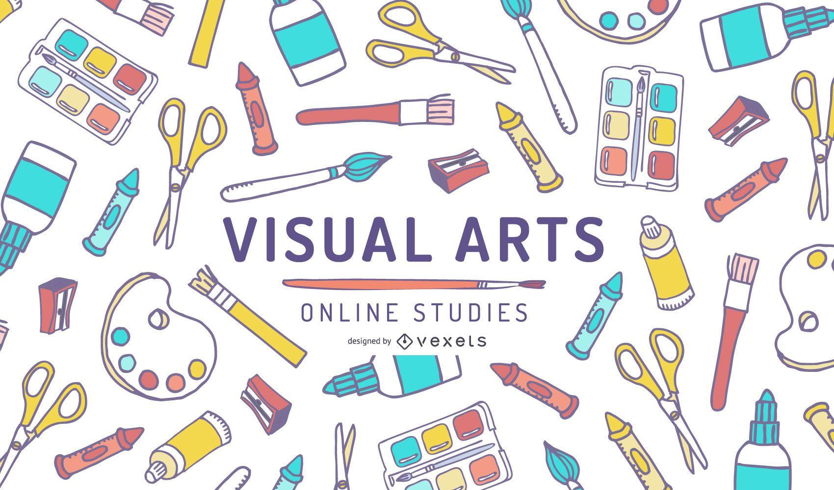 Diseño de portada de estudios en línea de artes visuales