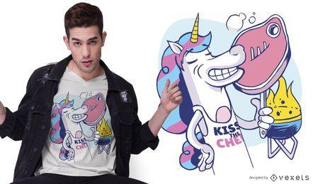 Diseño de camiseta Unicorn BBQ Cartoon