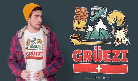 Diseño de camiseta de cultura suiza