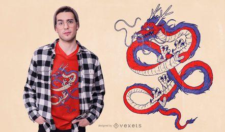 Design chinês azul vermelho do t-shirt do dragão