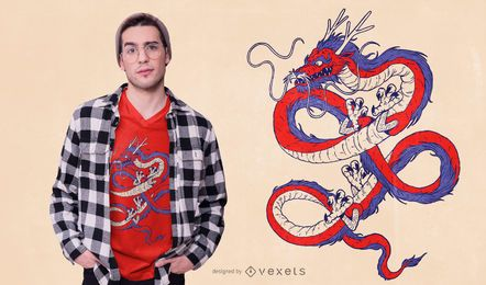 Red Blue Chinese Dragon T-shirt Design