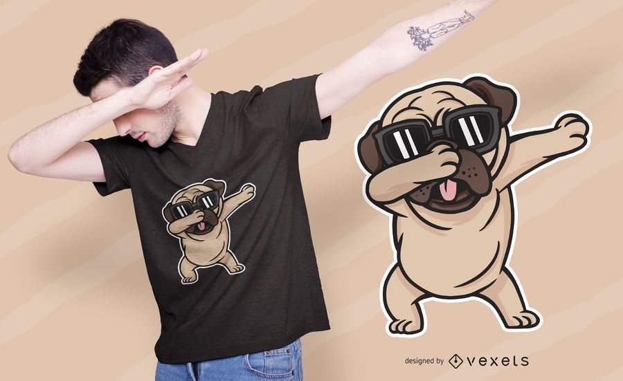 Pug Dabbing Dog T-shirt Design