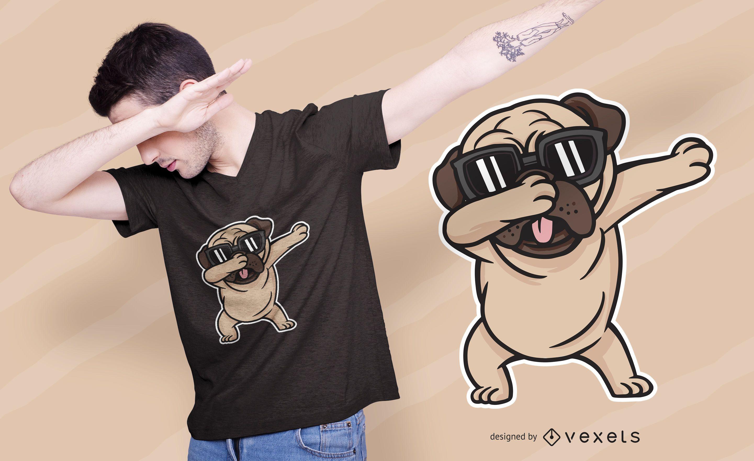 Diseño de camiseta de perro Pug Dabbing